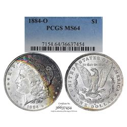 1884-O $1 Morgan Silver Dollar Coin PCGS MS64 Amazing Toning