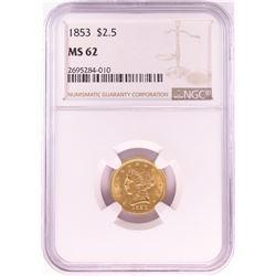 1853 $2 1/2 Liberty Head Quarter Eagle Gold Coin NGC MS62