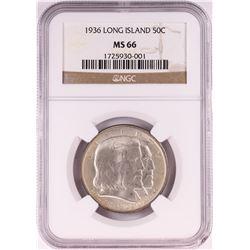 1936 Long Island Tercentenary Commemorative Half Dollar Coin NGC MS66