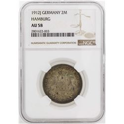 1912-J Germany Hamburg 2 Marks Silver Coin NGC AU58