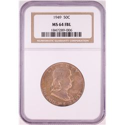 1949 Franklin Half Dollar Coin NGC MS64FBL