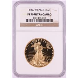 1986-W $50 Proof American Gold Eagle Coin NGC PF70 Ultra Cameo