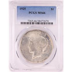 1925 $1 Peace Silver Dollar Coin PCGS MS66