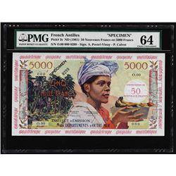 1961 French Antilles 50 Nouveaux Francs on 5000 Francs Specimen Note PMG Choice Unc. 64
