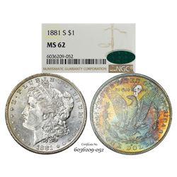 1881-S $1 Morgan Silver Dollar Coin NGC MS62 CAC Amazing Toning