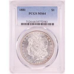 1881 $1 Morgan Silver Dollar Coin PCGS MS64