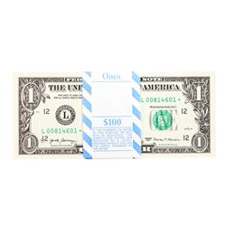 Pack of (100) Consecutive 2017 $1 Federal Reserve STAR Notes San Francisco