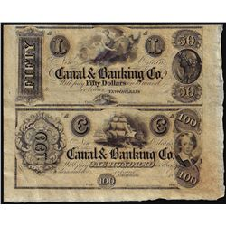 Half Sheet of 1800's $50 and $100 Canal Bank New Orleans, Louisiana Obsolete Notes