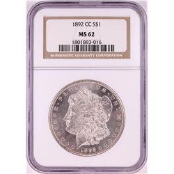 1892-CC $1 Morgan Silver Dollar Coin NGC MS62