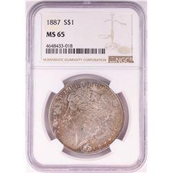 1887 $1 Morgan Silver Dollar Coin NGC MS65