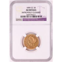 1890-CC $5 Liberty Head Half Eagle Gold Coin NGC AU Details