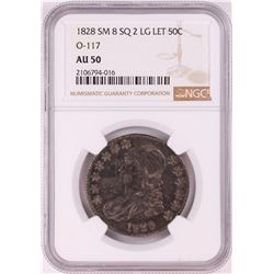 1828 Small 8 Square 2 Large Letter Capped Bust Half Dollar Coin NGC AU50 O-117