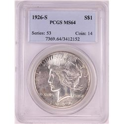 1926-S $1 Peace Silver Dollar Coin PCGS MS64