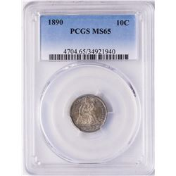 1890 Seated Liberty Dime Coin PCGS MS65