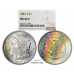 1881-S $1 Morgan Silver Dollar Coin NGC MS62* Star Amazing Toning
