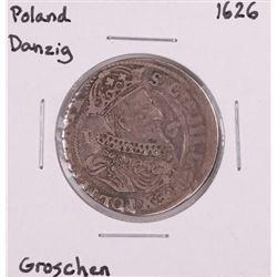 1626 Poland Danzig Groschen Silver Coin