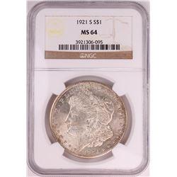 1921-S $1 Morgan Silver Dollar Coin NGC MS64