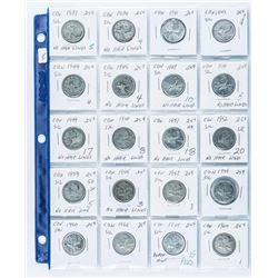 Group of (20) Silver 25 Cent Coins, 1937-1965