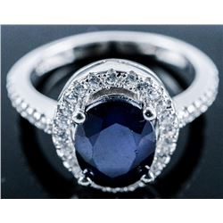 925 Sterling Silver Ring Oval Cut Blue  Sapphire 1.60ct - 40 Natural 'CZ' 2.00ct/  TRRV: $955.00