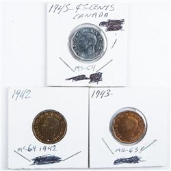 Group of (3) Canada 5 Cents