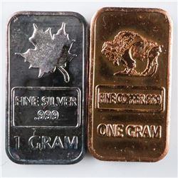 Lot (2) Collector Bullion Bars .999 Fine  Silver and Copper