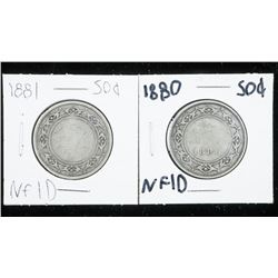 Lot (2) NFLD 925 Silver 50 cent - 1880 and  1881