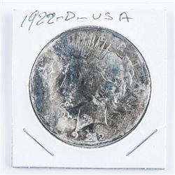 1922(D) USA Silver Peace Dollar Toned