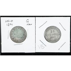 Lot (2) NFLD 25 Cents 1894 and 1917