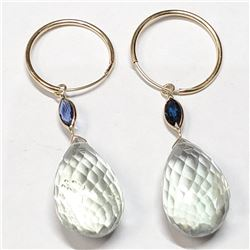 10K Yellow Gold Natural Amethyst(21ct) Natural Sapphire Briolette, Mrquise Cut Earrings (~weight 5g)