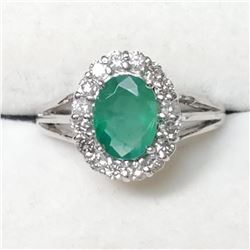 10K White Gold Natural Emerld(1.2ct) Diamond(0.42ct) 16 Shared F-G Color, Clarity (I-1 To I-3), Very