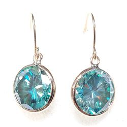 14K Yellow Gold Natural Moissanites(3.7ct) Hand Assembled Dangle Earrings (~weight 1.08g), Appraised