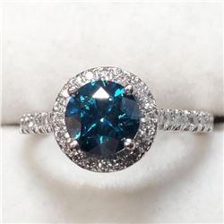 Platinum Blue Treated Diamond(1.25ct) Diamond(0.45ct) Clarity (1-3), 38 Shared Diamonds G-H Color Cl