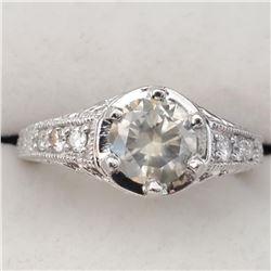 Platinum Light Green Diamond(1.18ct) Diamond(0.2ct) Clarity (I-3), 6 Prong Set F-G Color Clarity(I-1