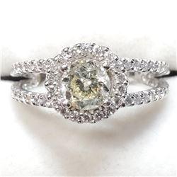 14K White Gold Diamond(1.01ct) Diamond(0.75ct) 1 Prong Set Clarity(I-2) I Color, 74 Diamonds Clarity