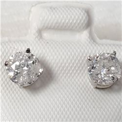 14K White Gold Diamond(1.25ct) Color(H-I), Clarity (I-1 To I-2) Earrings (~weight 1g), Made in Canad