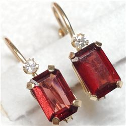 14K Yellow Gold Garnet Diamond(0.02ct) Earrings, Made in Canada, Suggested Retail Value $400 (Estima
