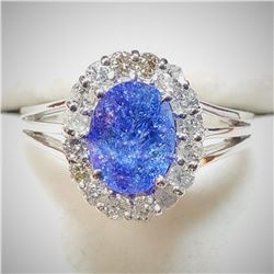 10K White Gold Natural Tanzanite(1.3ct) Diamond(0.42ct) 16 Prong Set Clarity(I-1 To I-3) Color (F-G)