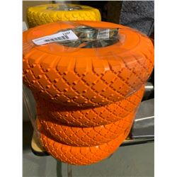 Lot of 4-Prograde Non-Flat Hand Truck Tires - Orange
