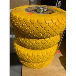Lot of 4-Prograde Non-Flat Hand Truck Tires - Yellow