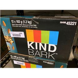 Case of Kind Bark Dark Chocolate Almond and Sea Salt Snack (12 x 102g)