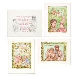 """Edna Hibel (1917-2014), """"The Family Suite Edition I"""" 4-Piece Limited Edition Lit"""