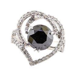3.33 ctw Black Diamond and Diamond Ring - 18KT White Gold