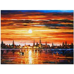 """Leonid Afremov (1955-2019) """"Sunset in Barcelona"""" Limited Edition Giclee on Canva"""