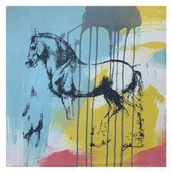"Gail Rodgers, ""Leonardo's Horse"" Hand Signed Original Hand Pulled Silkscreen Mix"