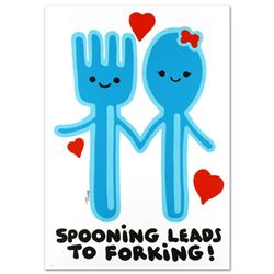 """""""Spooning Leads to Forking"""" Limited Edition Lithograph (25"""" x 35"""") by Todd Goldm"""
