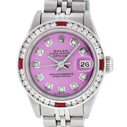 Rolex Ladies Stainless Steel Pink Diamond & Channel Ruby Datejust Wristwatch