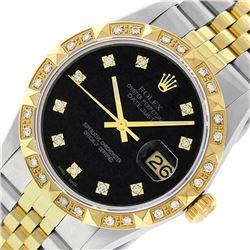 Rolex Mens 2 Tone Black Diamond Pyramid Bezel 36MM Datejust Wristwatch