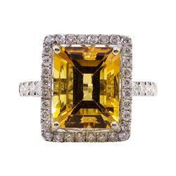 6.25 ctw Citrine and Diamond Ring - 14KT White Gold