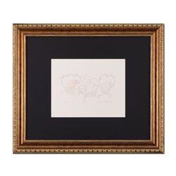 """Guillaume Azoulay, """"Essai AK"""" Framed Original Drawing, Hand Signed with Letter o"""