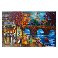 "Yana Rafael, ""Scenic Café"" Hand Signed Original Painting on Canvas with COA."